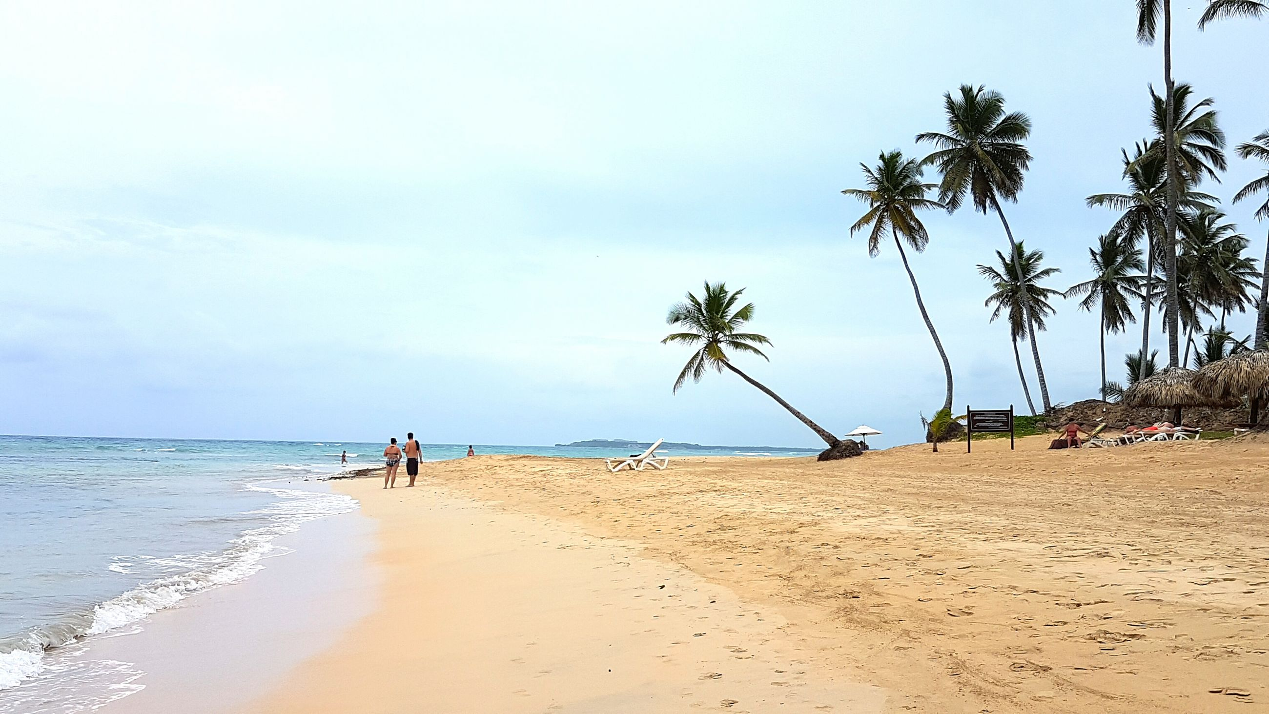 beach, sea, sand, shore, horizon over water, water, palm tree, sky, tree, tranquility, tranquil scene, vacations, scenics, beauty in nature, nature, tourist, leisure activity, incidental people, tourism