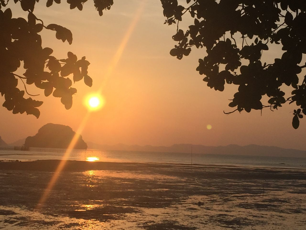 sunset reflection by the sea in Krabi city of Thailand Beauty In Nature Destination Destiny Hope Hopes And Dreams Horizon Over Water Inspiration Inspired Inspired By Nature Light And Shadow Nature No People Outdoors Reflection Restart Silhouette Special Startup Sunlight Sunset Tranquil Scene Tranquility
