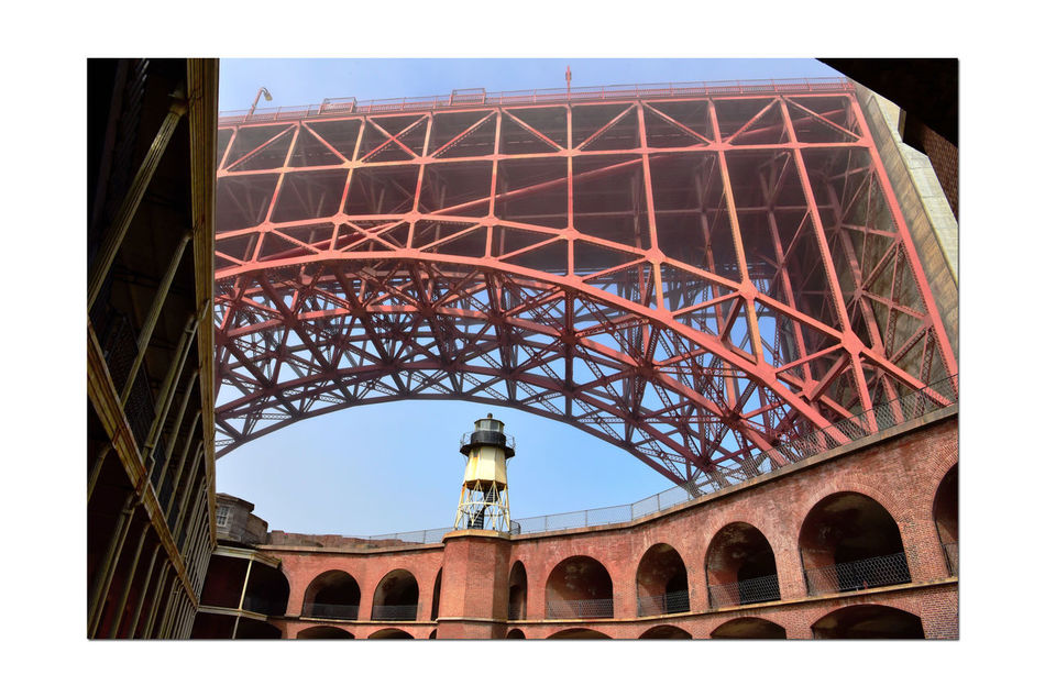 Golden Gate Bridge @ Fort Point 15 San Francisco Bay Golden Gate Bridge 1937 Fort Point 1861 Lighthouse Bridge Arch Fog Seacoast Fortification Barracks Archways Fort Masonry Architecture Low Angle View Architectural Detail Steel Brick And Mortar Military Post Military History Forts Rooftop