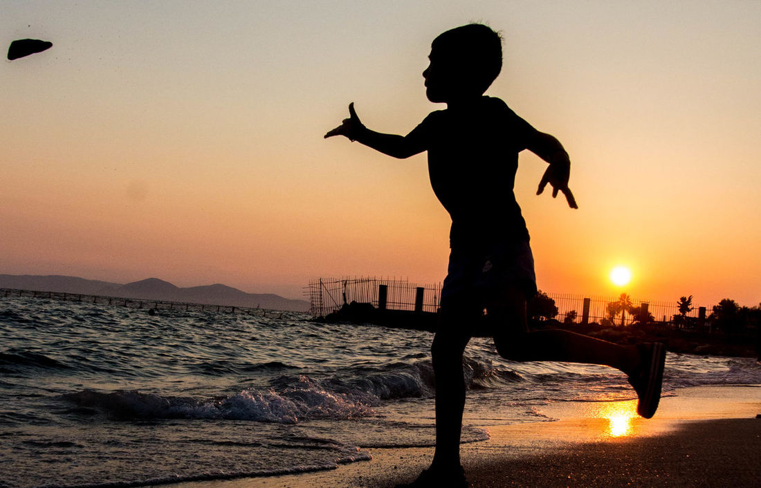 Childs Play Alimos Athens Beach Greece Silhouette Summertime Sunset Travel Vacation First Eyeem Photo