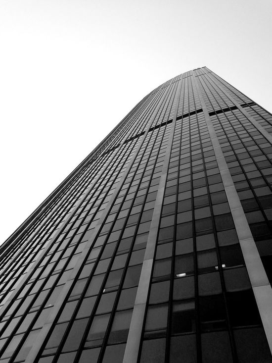 Architecture Skyscraper Built Structure Sky No People Outdoors Low Angle View Day Clear Sky Building Exterior Modern City Urban Skyline Cityscape Streetphotography Perspective Blackandwhite Best EyeEm Shot Point Of View Honor8 Paris, France