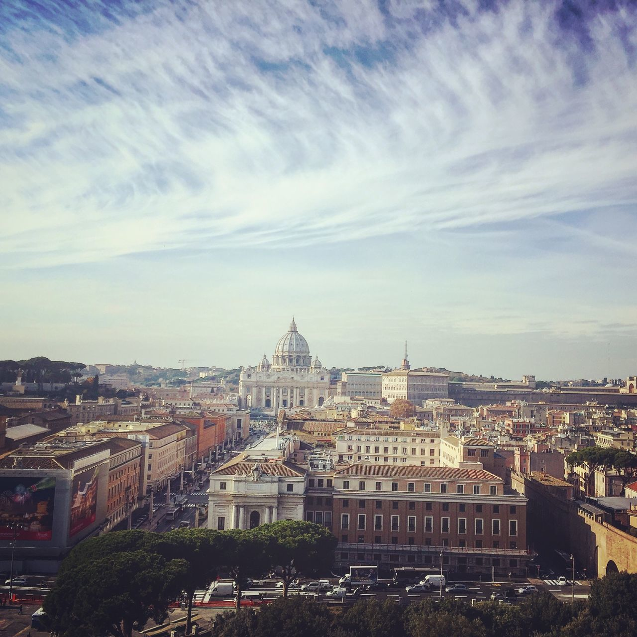 High Angle View Of Buildings And St Peter Basilica Against Sky