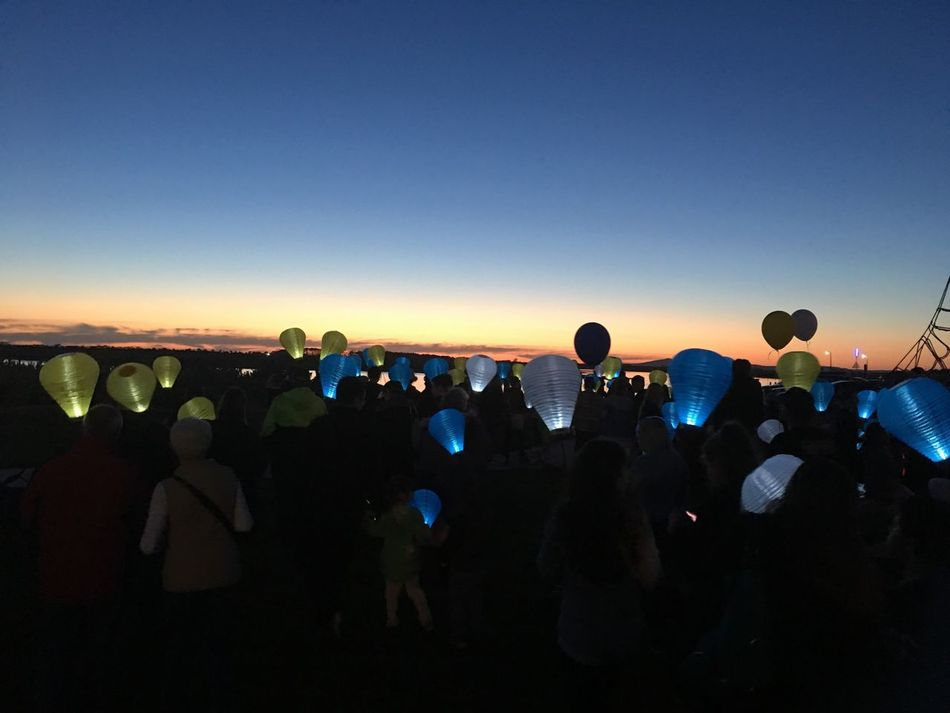 Light the Night Walk for the Leukaemia foundation Blue Clear Sky Large Group Of People Illuminated Copy Space Crowd Dark Outdoors Multi Colored City Life Scenics Tranquil Scene Green Color Tranquility lights