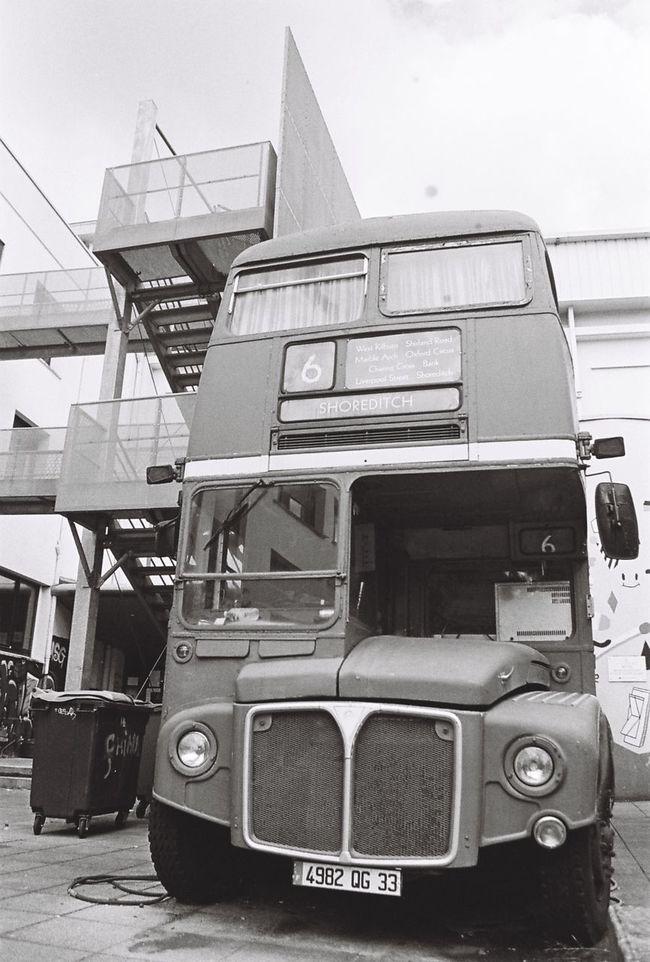 35mm Film Analog Analogue Photography Blackandwhite Bus In Front Of Mode Of Transport Streetphotography Vintage