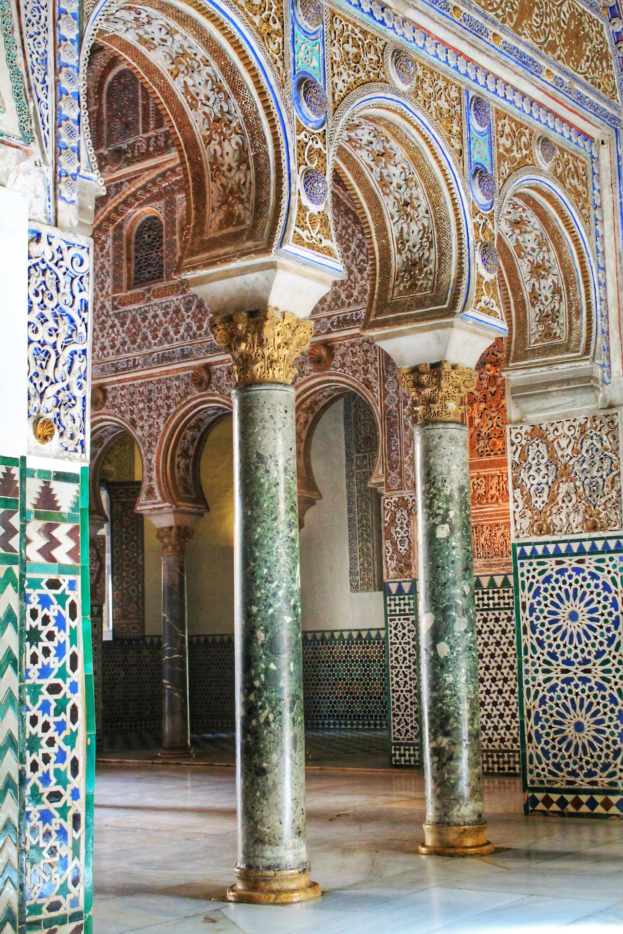 Alcazar Andalucía Arabesque Architectural Column Architecture Building Exterior Built Structure Cultures Day Hall History Indoors  Islamic Architecture Mosaic No People Palace Passage Place Of Worship Religion Sevilla SPAIN Tiles Travel Destinations