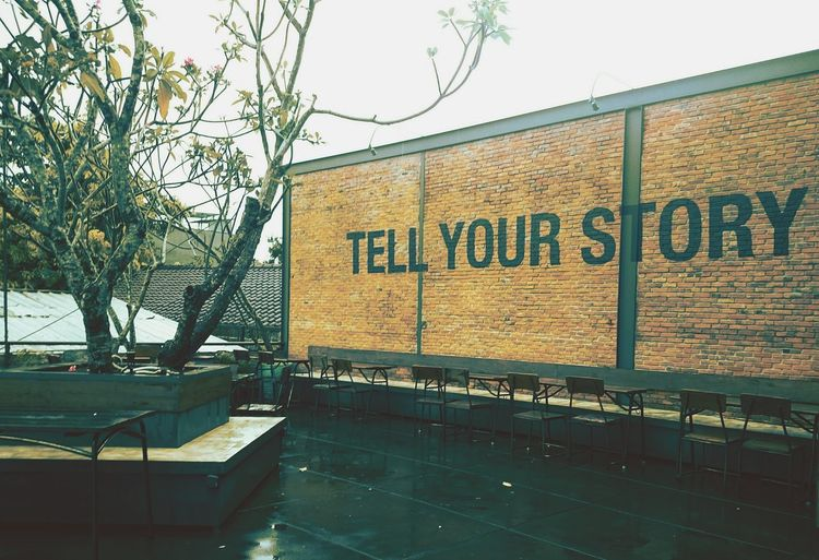 Tell your story Streetphotography Outdoors No People Indonesian Photographers Collection Story Of My Life Story Tellyourstory Twostories Brickwall Outdoorrestaurant