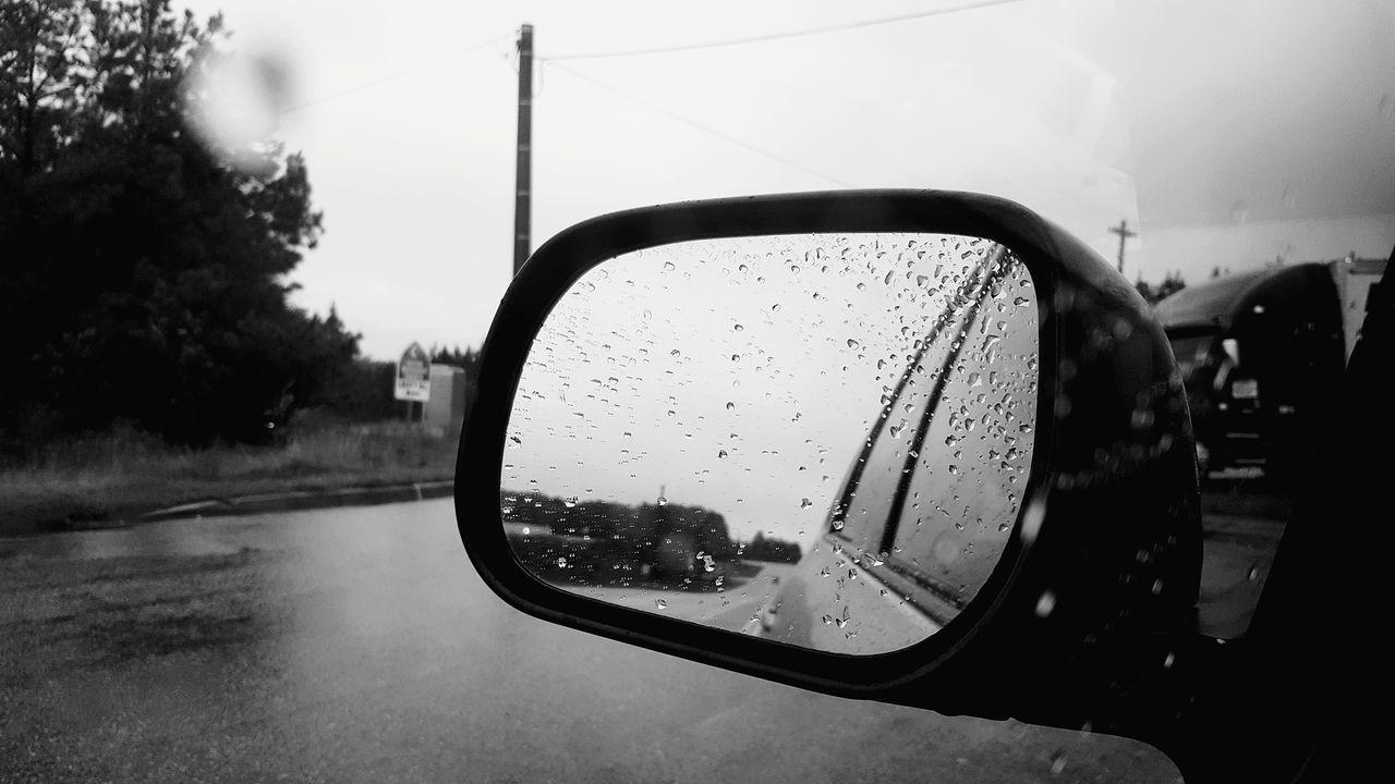 Car Reflection Mirror Vehicle Mirror Side-view Mirror Transportation Wet Road Monochrome Photography Black And White MonochromePhotography Blackandwhite Photography Black And White Photography Monochrome Rain Rainy Days Rain Drops