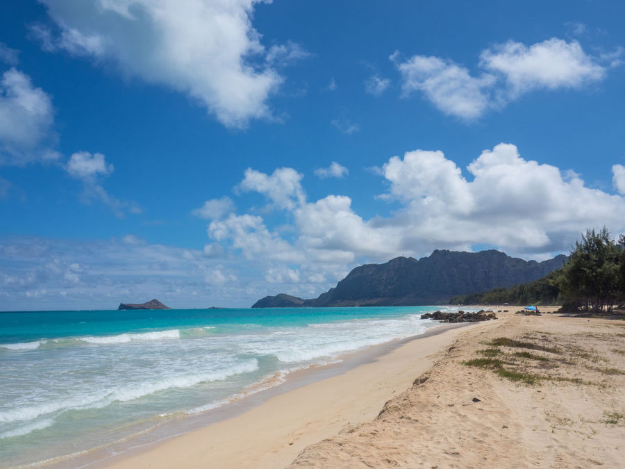 Hawaii Oahu, Hawaii Beach Beauty In Nature Blue Cloud - Sky Clouds And Sky Day Horizon Over Water Mountain Nature No People Outdoors Sand Sand Dune Scenics Sea Sky Tranquil Scene Tranquility Waimanalo Water Wave
