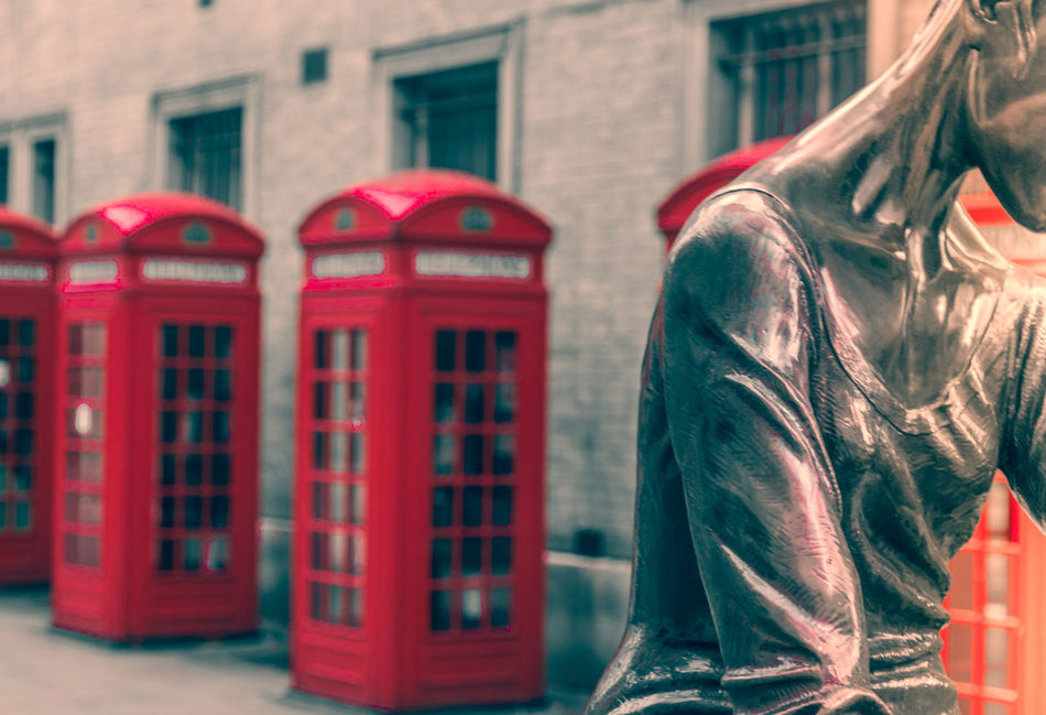Architecture Building Exterior Built Structure Close-up Day No People Outdoors Red Separation Statue Telephone Booth Window