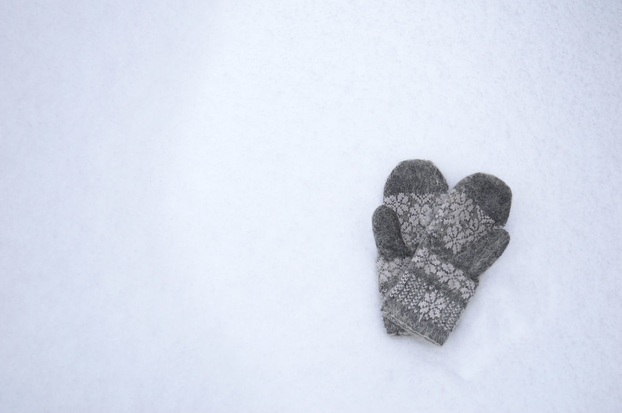 Grey wool gloves on the snow Close-up Clothing Cold Temperature Comfortable Day Fluffy Frost Glove Gray Holiday Mittens Nature No People Outdoors Pair Pattern Protection Snow Style Textile Weather White Background Winter Wool
