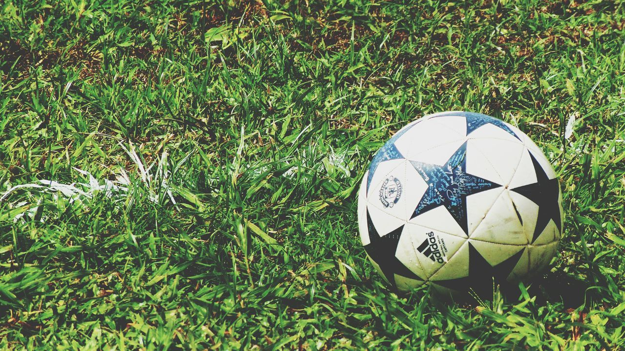 soccer, soccer ball, grass, sport, ball, football, soccer field, green color, field, playing field, no people, competition, competitive sport, day, outdoors, close-up, soccer uniform