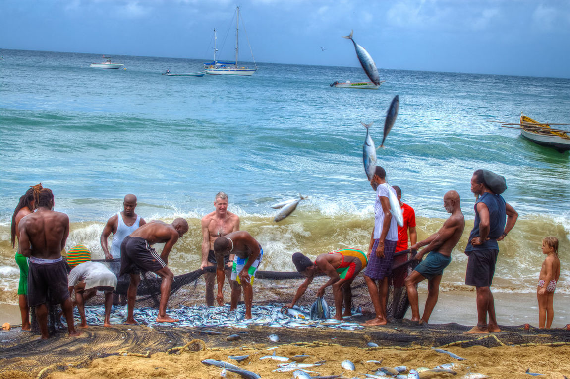 Water Real People Sand Large Group Of People Lifestyles Beach Travel Destinations Beauty In Nature Catchoftheday Fisherman Village Fishermenvillage Fisherman's Wharf Shirtless Vacations Castara Bay Finding New Frontiers Tobagolove