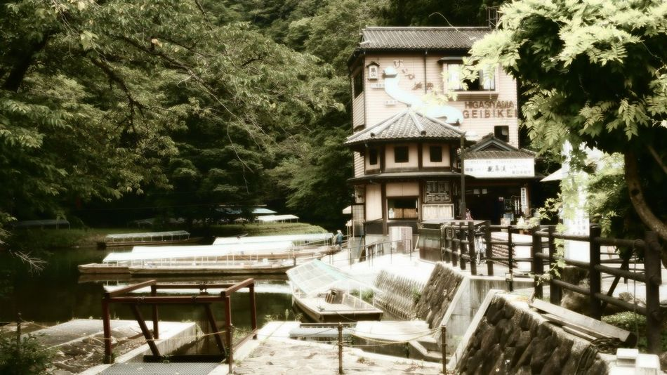The stunning Geibiki Gorge in Japan. Architecture Beauty In Nature Boat Built Structure Gazebo Geibiki Gorge Gorge. Idyllic Japan Nature Outdoors River Scenics Tourism Tranquil Scene Tranquility Travel Destinations Tree Ultimate Japan