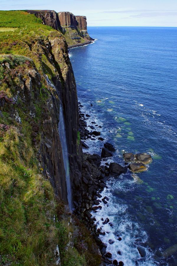 Mealt Falls and Kilt Rock Beauty In Nature Cliff Coastline Day Europe High Angle View Holidays Horizon Over Water Isle Of Skye Kilt Rock Mealt Falls Nature No People Outdoors Scenics Scotland Sea Sightseeing Sky Tranquility Traveling Uk Vacations Water Wave