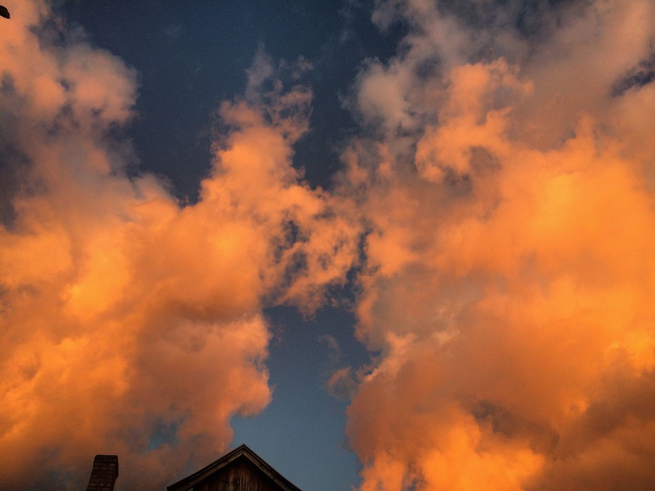 sky, cloud - sky, low angle view, orange color, nature, beauty in nature, sunset, no people, outdoors, scenics, building exterior, architecture, day