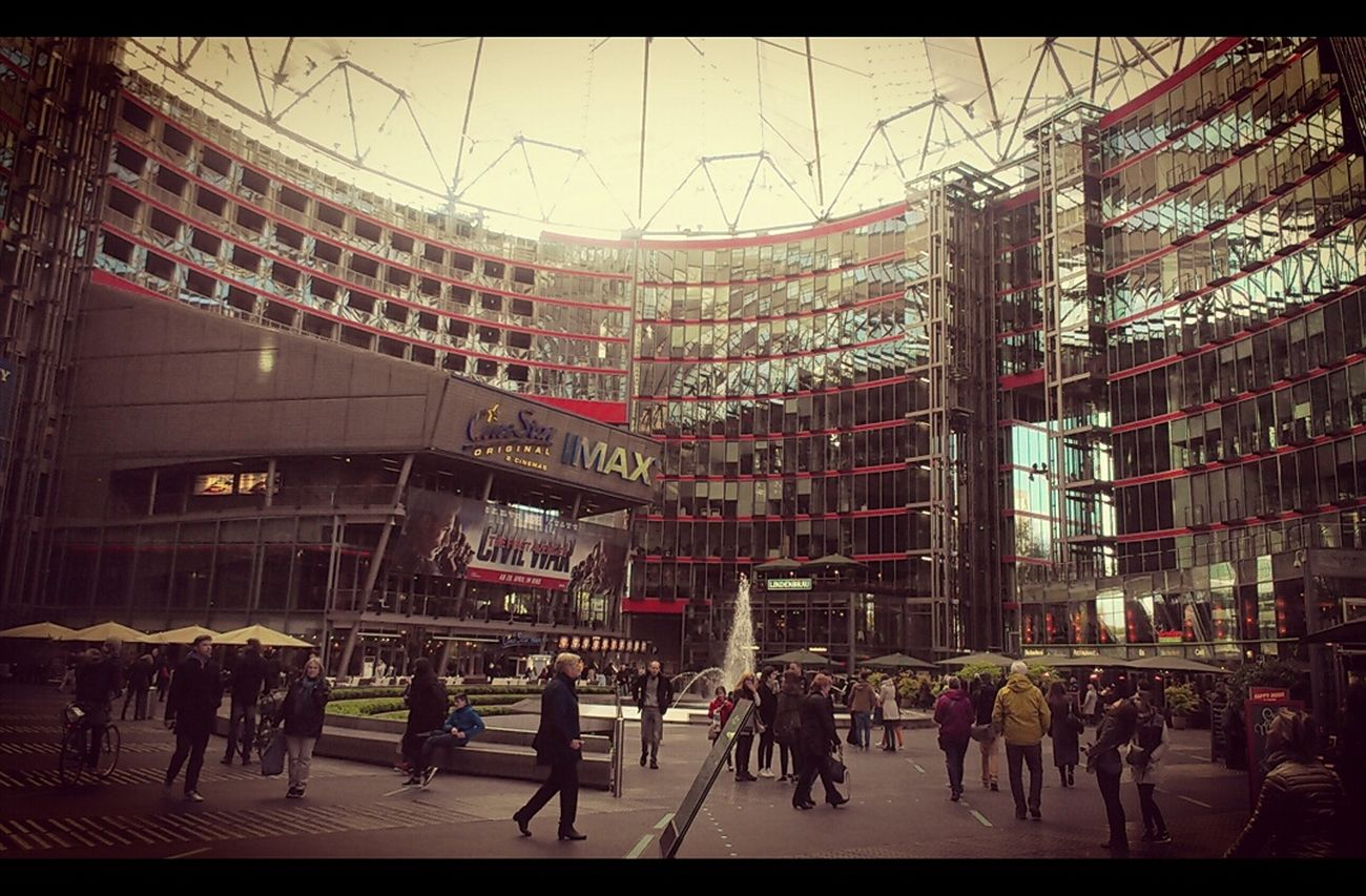 After movie. Large Group Of People Built Structure Outdoors Crowd Adult Day City Modern Architecture People Berlin Leicacamera HuaweiP9 Colors and patterns Cinestar Potsdamer Platz Sonycenterberlin Sony Center Movies