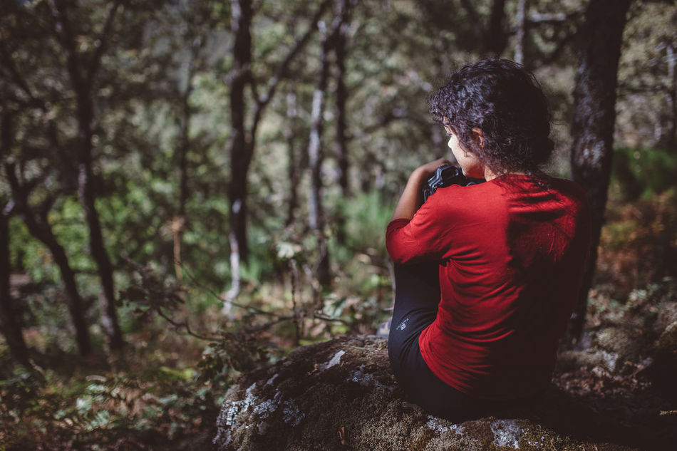 Adult Adults Only Day Depression - Sadness Forest Girl Girl In Red Nature Nature Nature_collection One Person One Woman Only Outdoors Pain People Photographer Red Red Tree Women Young Adult