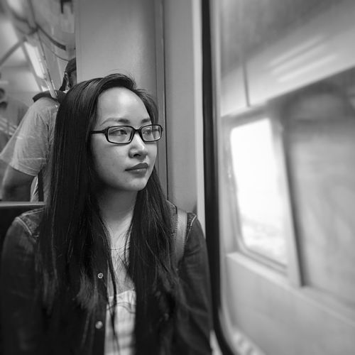 Young Adult Real People Eyeglasses  Young Women One Person Indoors  Window Front View Lifestyles Glasses Home Interior Day People mood train
