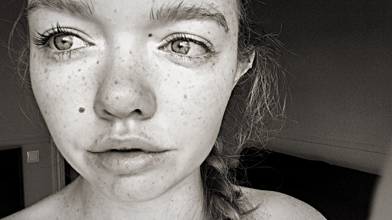 Monochrome Young Women Headshot Real People Close-up Women Freckle One Young Woman Only Beauty Natural Fresh Face Faces Of EyeEm Culture Identity Morning Waking Up Eyes Eyebrows On Fleek Photography Photo Lips Braided Hair EyeEm Best Shots EyeEm Gallery