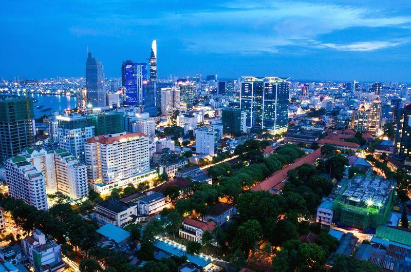 Cities At Night Ho Chi Minh city, Viet Nam Sunset Landscape_photography Citycapes Sky Landscapes Stockphotography Vietnam Travel Photography Tourism Hight Citynights Verynice