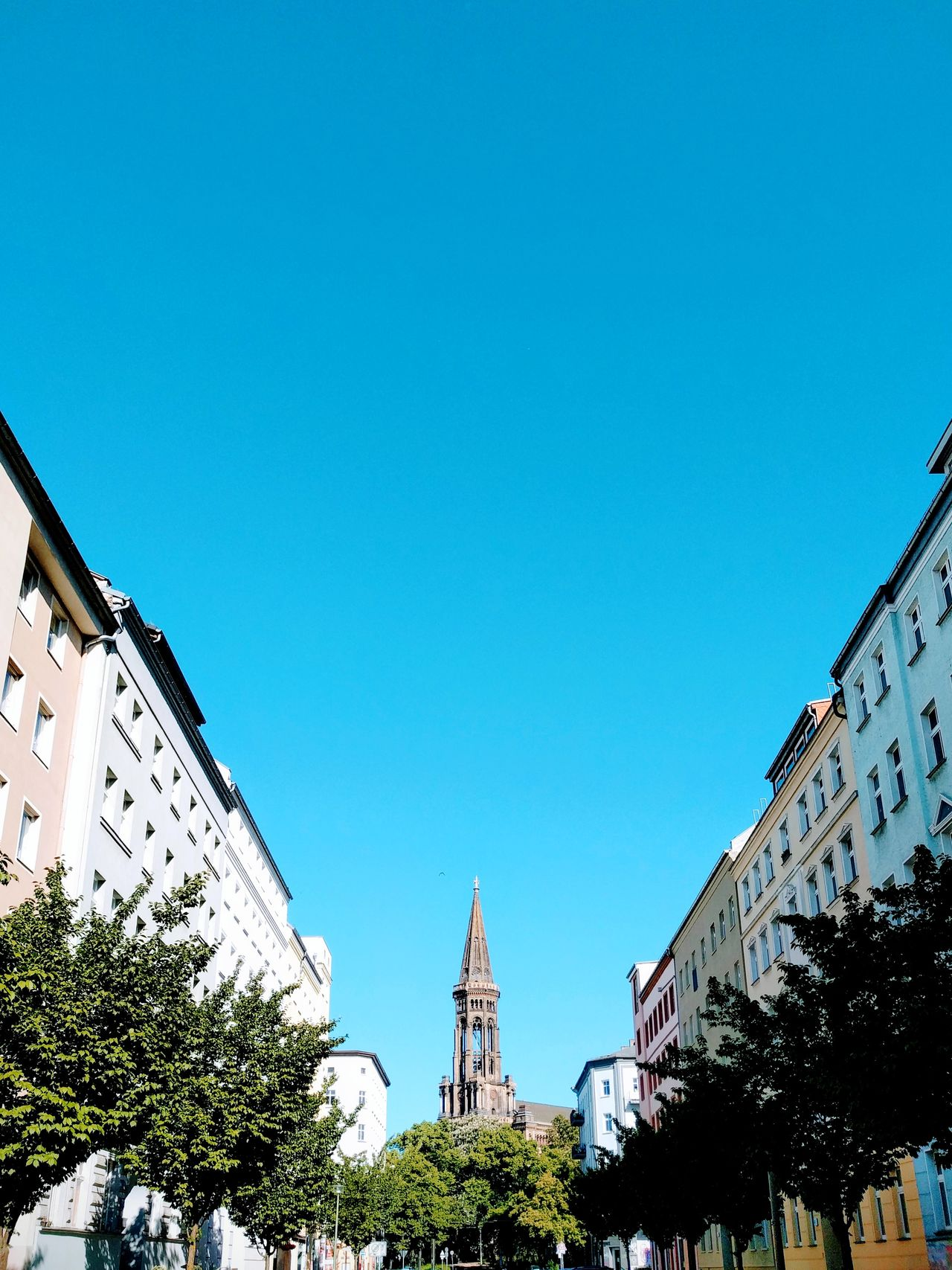 Outdoors Day Low Angle View History Sky Travel Destinations Architecture Blue No People Clear Sky Building Exterior Tree Zionskirche Berlin Travel Destination Neighborhood Map Live For The Story Architecture Copy Space Cityscape City
