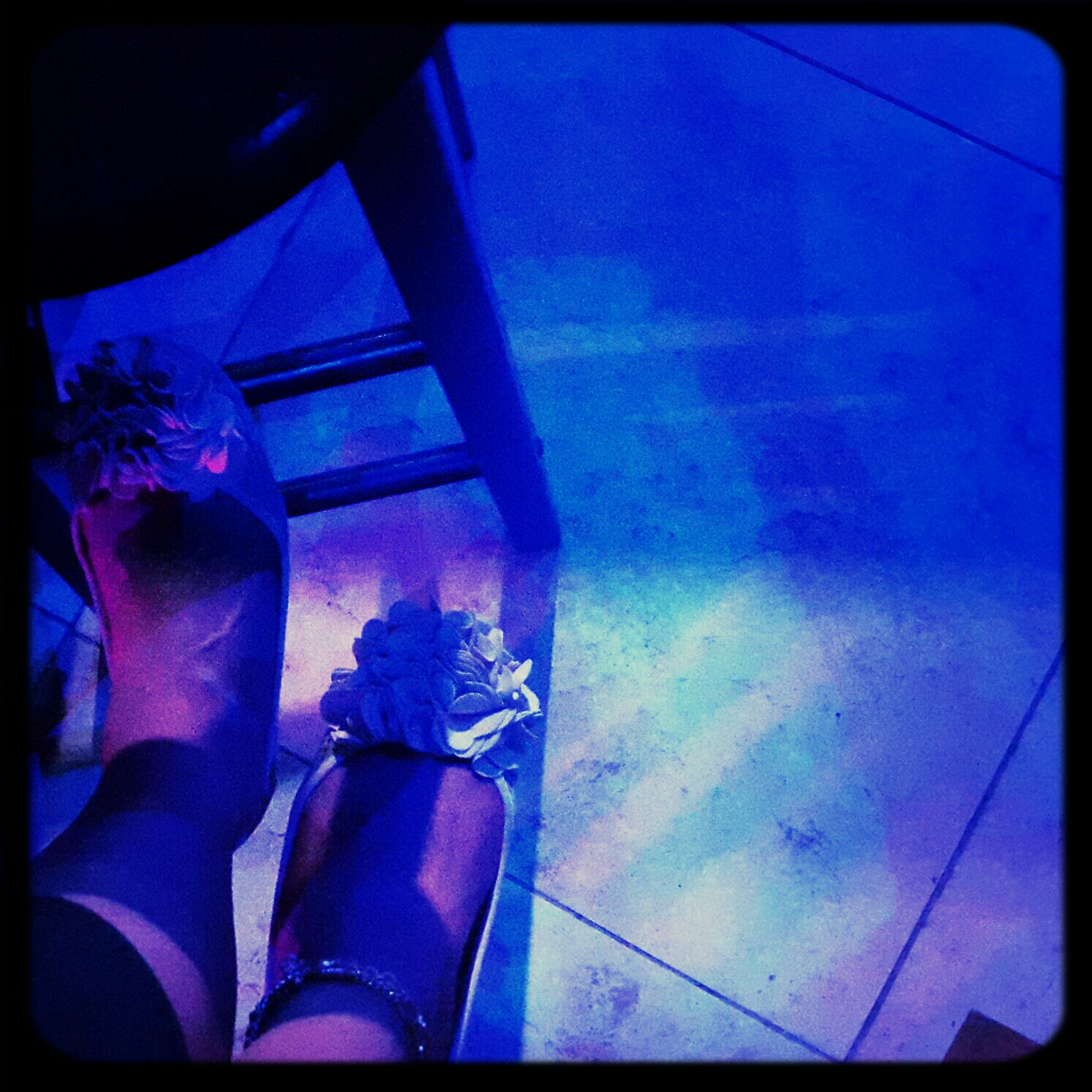 transfer print, auto post production filter, low section, blue, indoors, person, personal perspective, sunlight, high angle view, day, shadow, tiled floor, lifestyles, part of, swimming pool, human foot, unrecognizable person