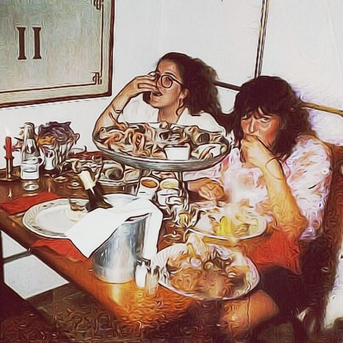 """Saint-Tropez Restaurant eating all types of shellfish—circa 1989. [Now I'mallergic to shellfish] Me & my friend Corine [pen-pals for years & friends for life (thanks to 'the Big Blue Marble').] France Sainttropez Friend *Posting to market, no model release tho.. My friend has been ill since heart attack & stroke; therefore, hasn't been communitive. Greatmemories Greatmoments #photo got wet w/ perfume. Edited, and used Soft F2 filter. Photography """"Capture the moment"""" Capture The Moment Picturing Individuality THESE Are My Friends"""