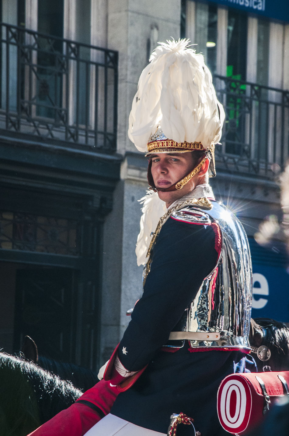 Half view of a mounted cavalery soldier in full ceremonial uniform. Adult Cavalry Cavalry Soldier Day Editorial  Guard Headwear Helmet Horse Horse Riding Horses Male Military Mounted News One Person People Street Uniform Uniforms