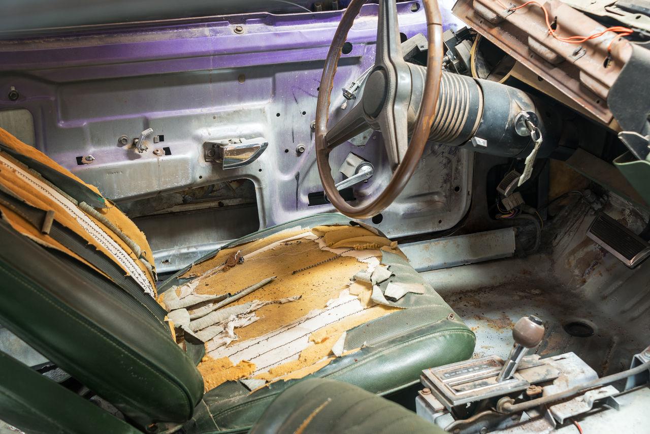 Interior Of Old Damaged Car