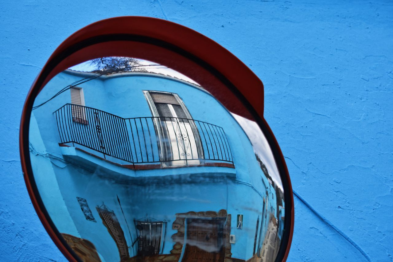 Smurfs Village Vacations Exceptional Photographs Reflection Eye4photography  Let's Do It Chic! EyeEm Best Shots Respect For The Good Taste Blue Wave Architecture Blue No People Building Exterior Outdoors Day Mode Of Transport Transportation Built Structure City Clear Sky Close-up Creativity Vibrant Color