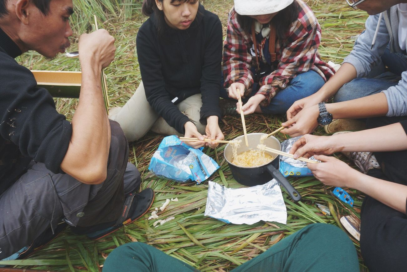 Enjoy The New Normal .Eating instant noodle. Asia style when you don't know to eat or have no money haha. It's easy time easy meal and easy happiness especially with your friends. Outdoors Friendship Picnic Relaxing In Nature  Eating Togetherness Chiang Dao Chiang Mai | Thailand Thailand People In Nature