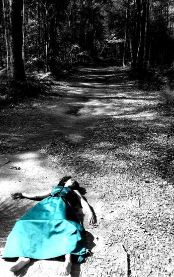 In The Forest In The Woods Green Dress Ball Gown Princess Dress On The Ground Murder Scenes Dead Girl Color Splash Self Portrait Experiments Playing With The Light