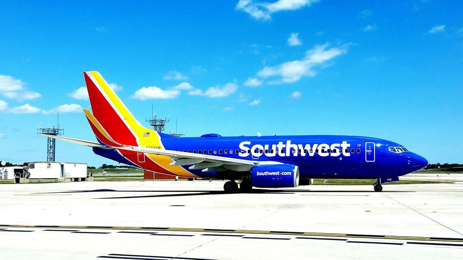 Southwest Airlines Boeing 737 Departing Milwaukee Wisconsin Summer Transportation Blue Sky Outdoors Public Transport Colorful Day Beautiful Summer
