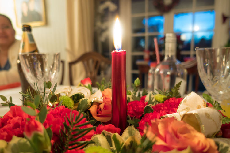 Burning Candle Celebration Centrepiece Close-up Day Flame Flower Freshness Illuminated Indoors  No People Place Setting Selective Focus Table Tea Light Wineglass
