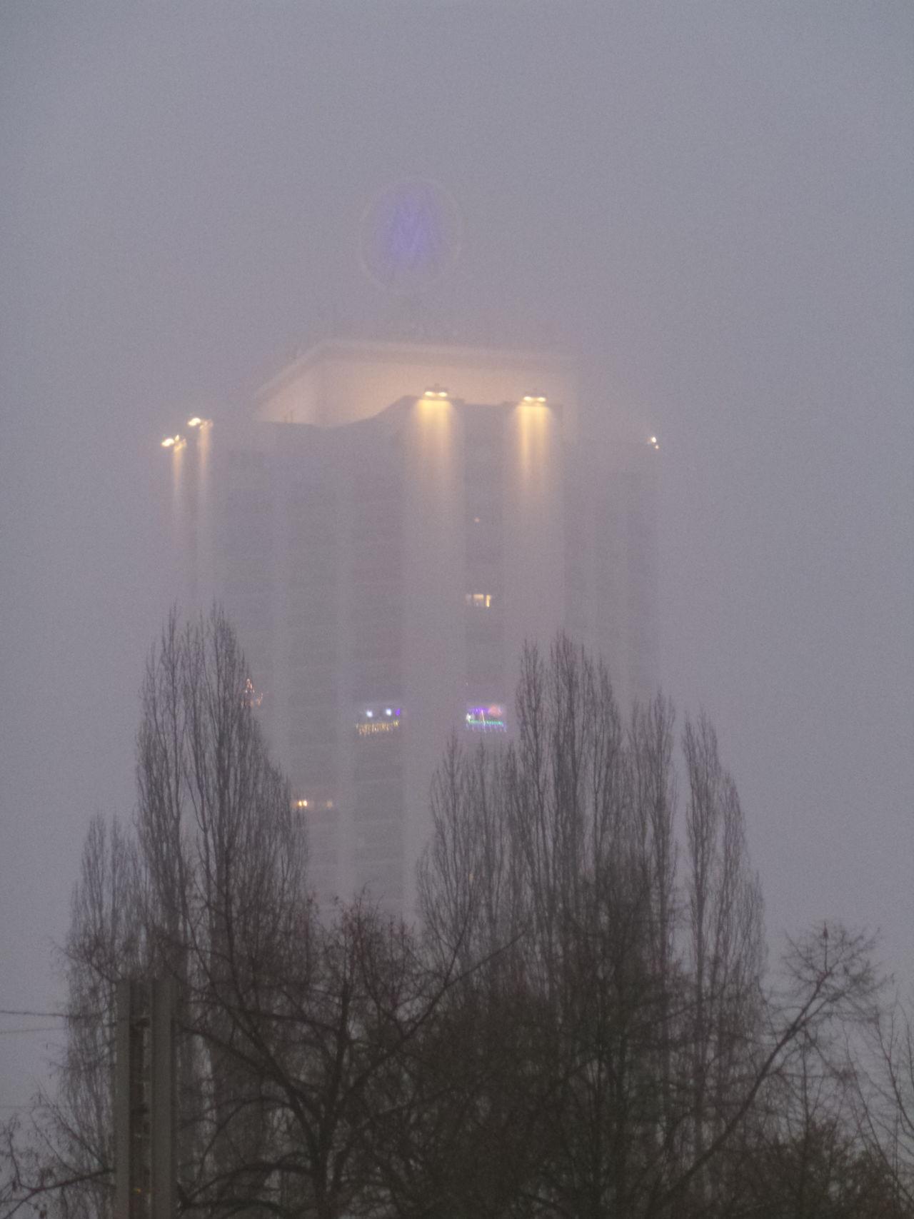 Wintergartenhochhaus bei Nebel Bäume Foggy High-rise Building Hochhaus Leipzig Nebelig Trees Winter Wintergartenhochhaus UFO