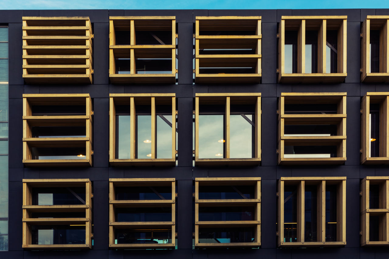 Yellow Windows in Geometry Minimalistic Building in Amsterdam Amsterdam Architecture Building Exterior Buildings & Sky Built Structure Day Full Frame Minimalism Minimalist Photography  Modern Architecture No People Outdoors Sky The Architect - 2017 EyeEm Awards Window