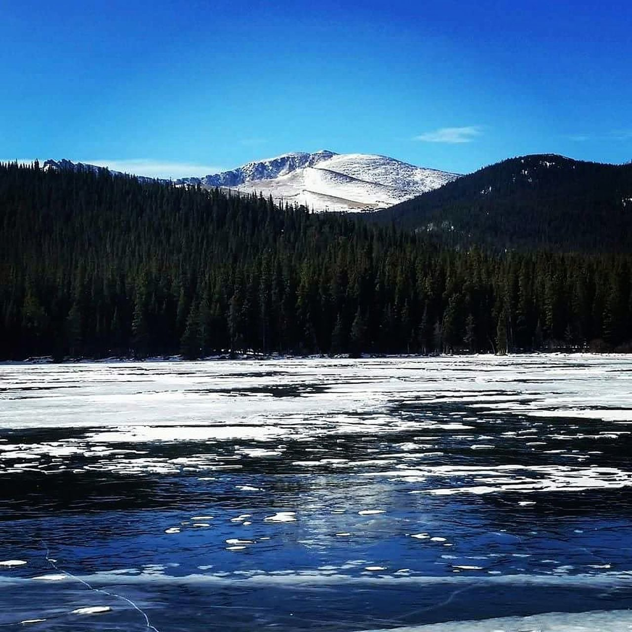 mountain, scenics, tranquil scene, nature, beauty in nature, tranquility, snow, winter, cold temperature, no people, tree, water, outdoors, day, forest, mountain range, blue, lake, clear sky, sky