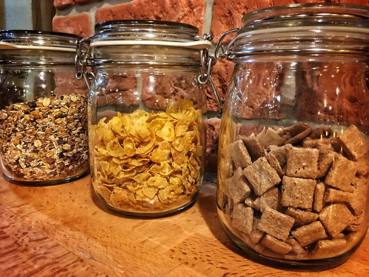 Three jars with cornflakes and müsli for breakfast Jar Food Food And Drink Variation Close-up No People Indoors  Mealtime Meal Hungry Eat Eating Cornflakes Müsli Breakfast Breakfast ♥ Breakfast Time Jars  Glasses Day Freshness Indoors  Inside Shining