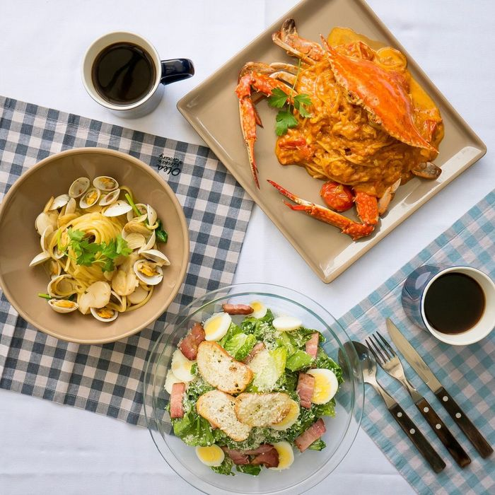 Food And Drink Plate Coffee Cup Coffee - Drink High Angle View Food Freshness Healthy Eating Fork Directly Above Italian Food Indoors  Refreshment Table Savory Food Ready-to-eat Drink Foodporn Pasta Pasta Time