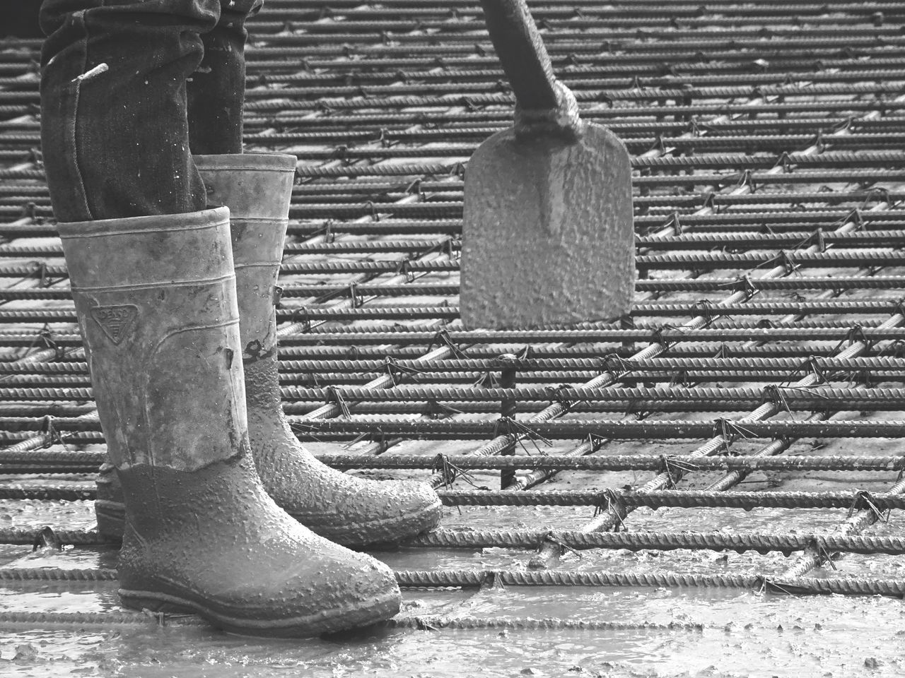 Outdoors Day No People Close-up Low Section Boots Protection Worker Concrete Floor Standing Manual Worker Construction Site