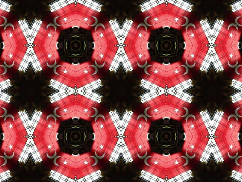 I love the kaleidoscope effect. This was actually made up of my Turkish flag and window grilles :)