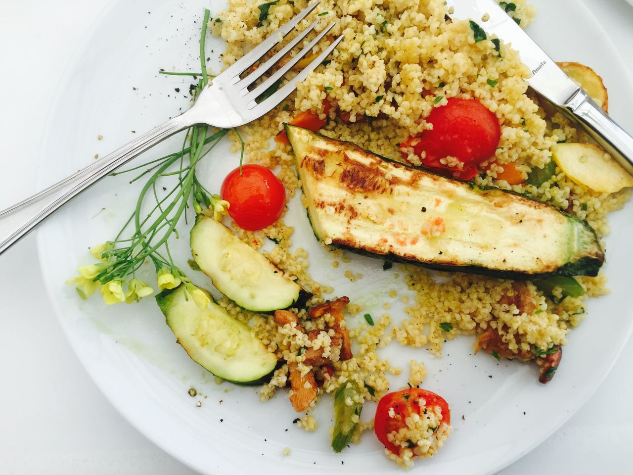 Cherry Tomato Courgette Food Freshness Healthy Eating Lunch Millet Plate Ready-to-eat Served Serving Size Temptation Tomato Vegetable