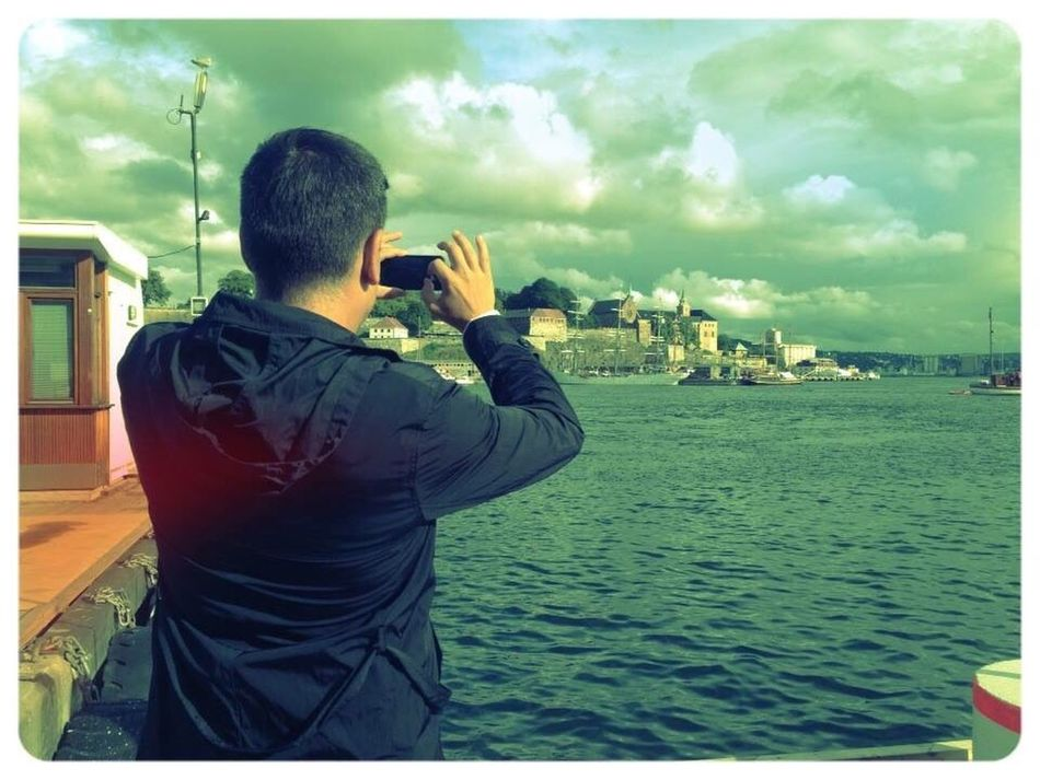 Oslo Norway Harbor Iosphotography Reverse Selfie Sky One Man Only Adult Traveling Travel Destinations Outdoors Sea And Sky City