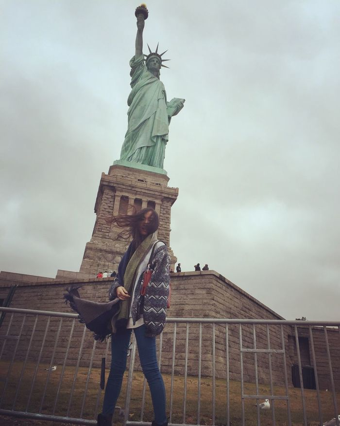 Being A Tourist Enjoying Life Taking Photos New York Strong Wind Liberty Happy