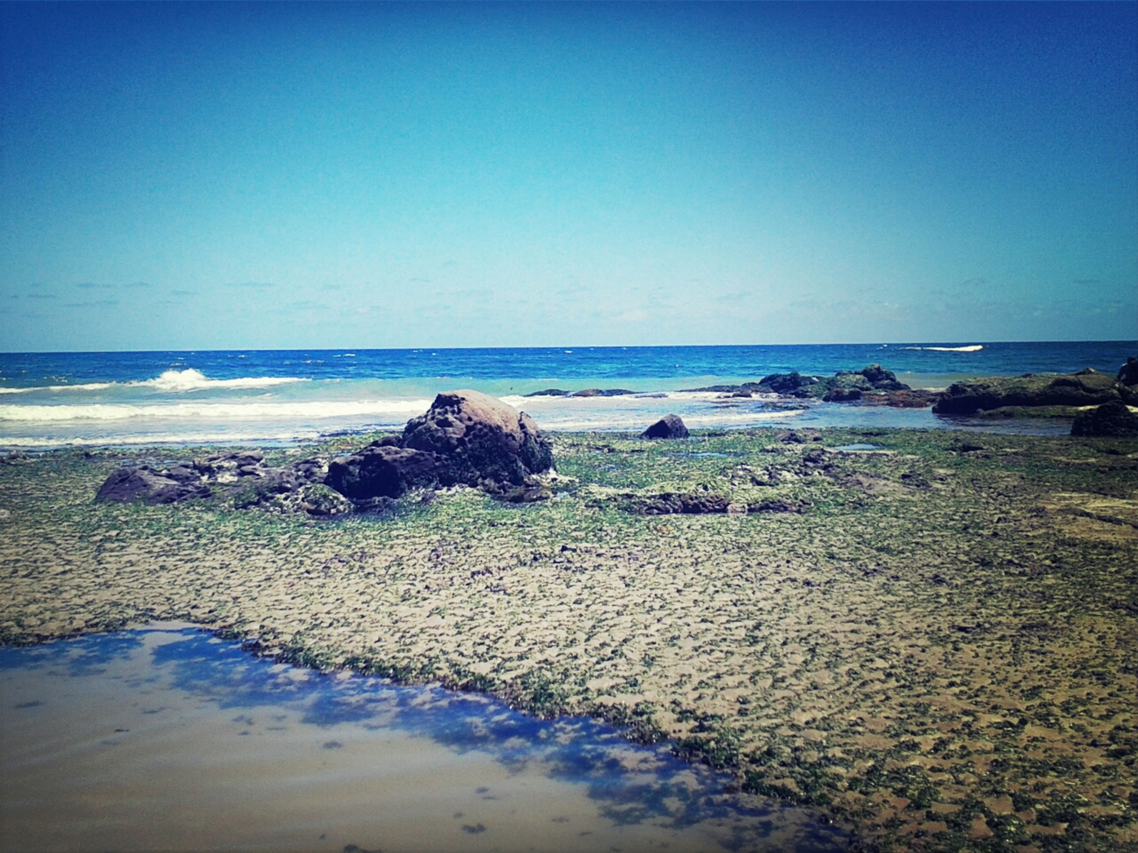 sea, beach, horizon over water, water, clear sky, shore, sand, tranquil scene, scenics, tranquility, copy space, beauty in nature, nature, blue, rock - object, coastline, wave, idyllic, sky, remote