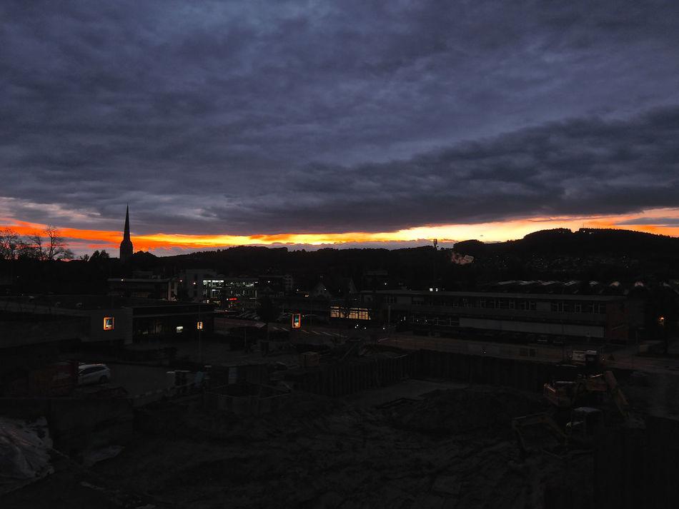 Sunset in a line. Brüggen Buildings Church Dark Clouds Horizon Illumination Spire  St. Gallen Sunset Switzerland Trees