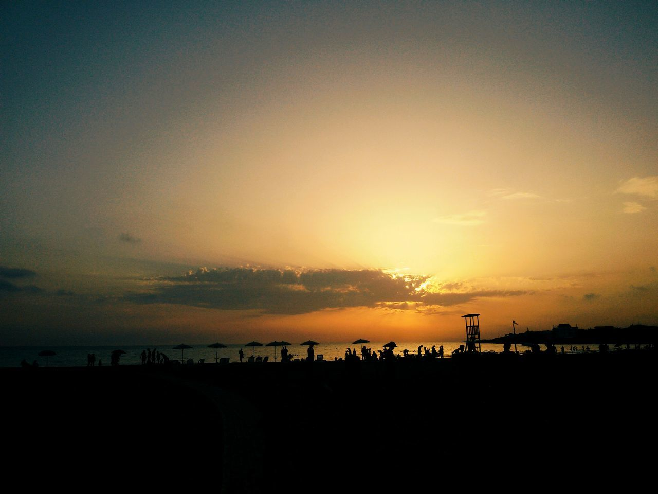 sunset, silhouette, sky, scenics, tranquil scene, beauty in nature, tranquility, nature, outdoors, cloud - sky, beach, landscape, sea, no people, horizon over water, tree, day