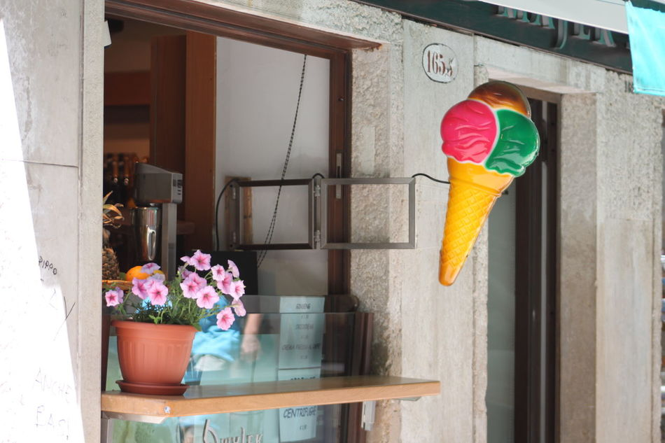 Architecture Blue Built Structure Day Flower Gelateria Icecream Multi Colored No People Pink Color Plant Sign Vivid