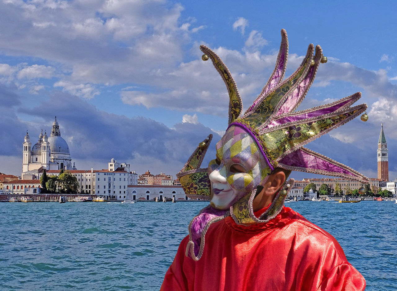 Adult Adults Only Arts Culture And Entertainment Carneval Carnevale Di Venezia Carnival - Celebration Event Celebration City Cultures Day Fantasy Headwear Mask - Disguise Multi Colored One Person Outdoors People Performance Period Costume Traditional Clothing Venetian Mask Venice Water