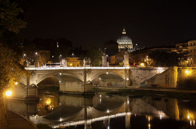 The Tiber at St. Peter's. In Rome with my wife for my birthday.. Learning about my brand new 5d mark iv - Goood days indeed! Hand held high iso. This is a fabulous camera Architecture Illuminated Night Water Bridge - Man Made Structure History River Outdoors City Life Travel Destinations Tourism City Bridge Reflection Canon Canon 5d Mark Iv Built Structure Building Exterior Old Town Arch Rome, Italy Rome Rome By Night St. Peter's Basilica Vatican